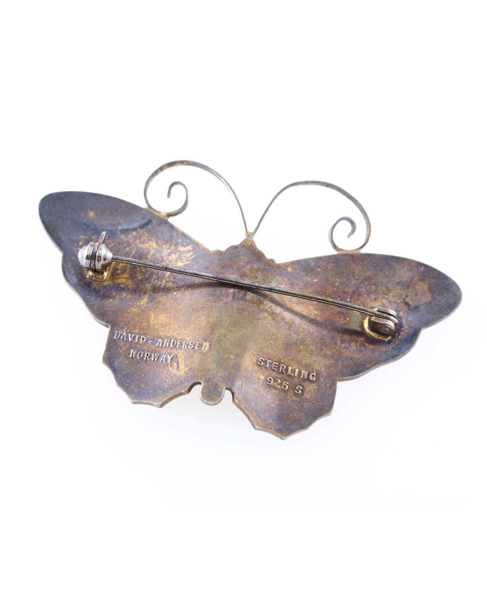 Vintage David Andersen Enamel Butterfly Sterling Silver