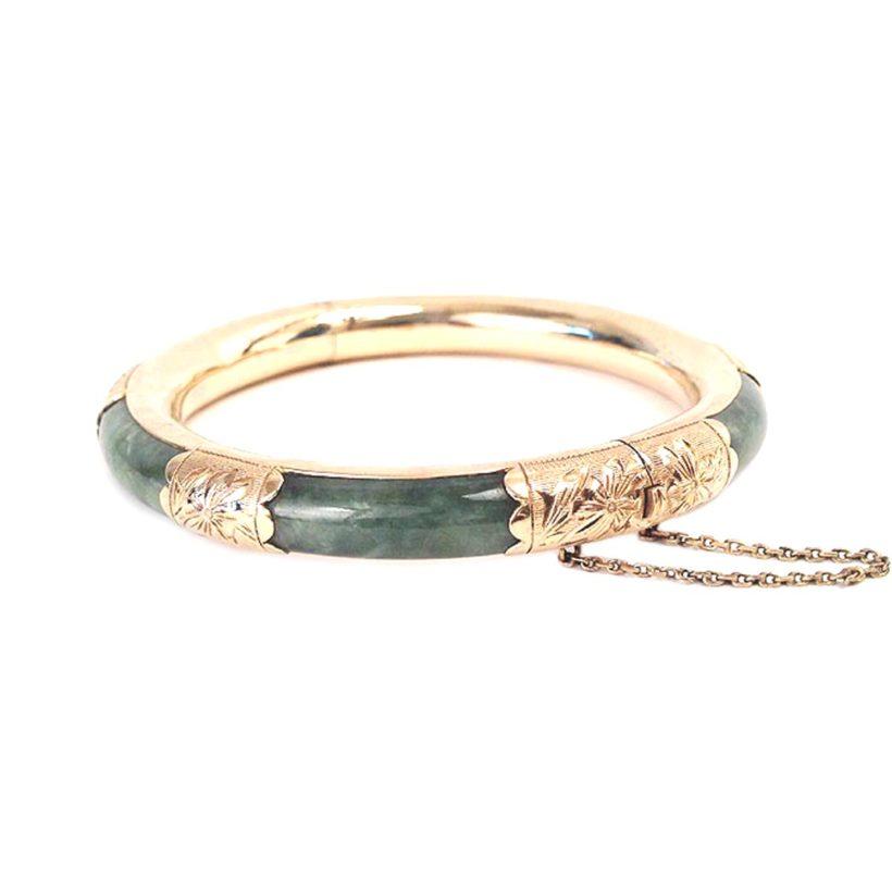 14k Gold Green Jade Bangle Vintage 585