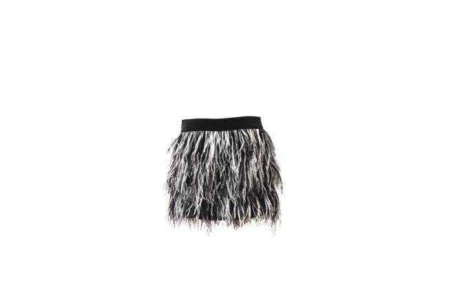 milly ombre ostrich feather mini skirt