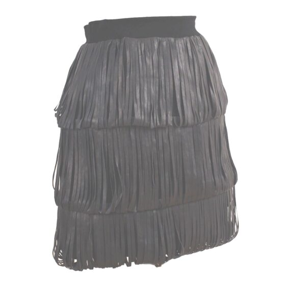 kimberly-Ovitz-Elliott-black-leather-tiered-fringe-skirt_01