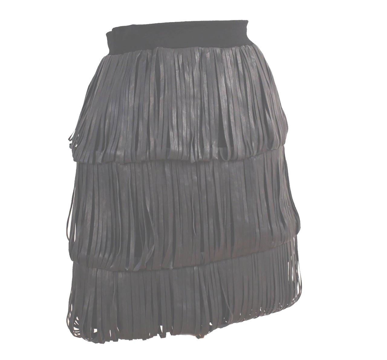 kimberly ovitz elliott black leather strips tiered skirt