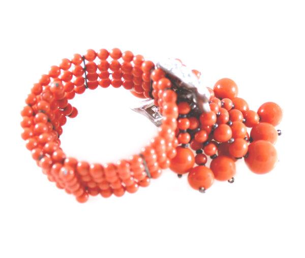 vintage miriam haskell coral bead & rhinestone bracelet