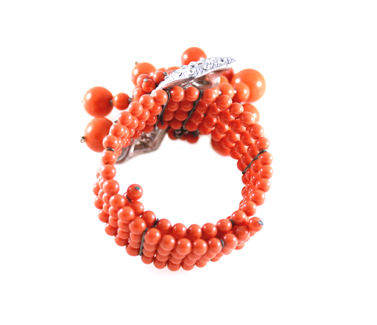 Vintage Miriam Haskell Frank Hess Wrap Coral Glass Bead