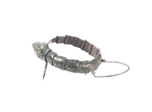 Margot de Taxco sterling enamel snake bracelet