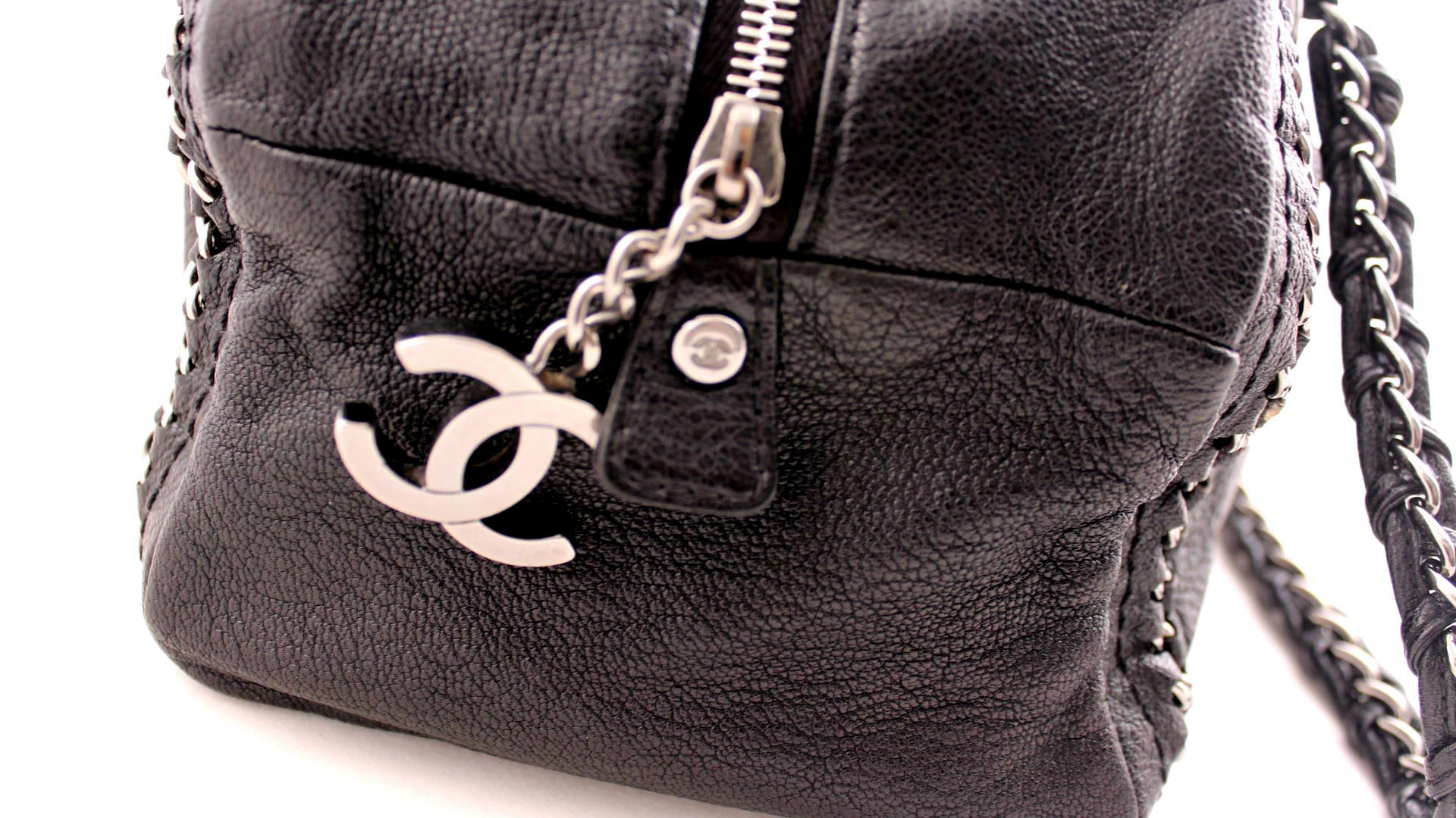 Chanel Black Luxe Ligne Bowler Bag Silver Tone Leather