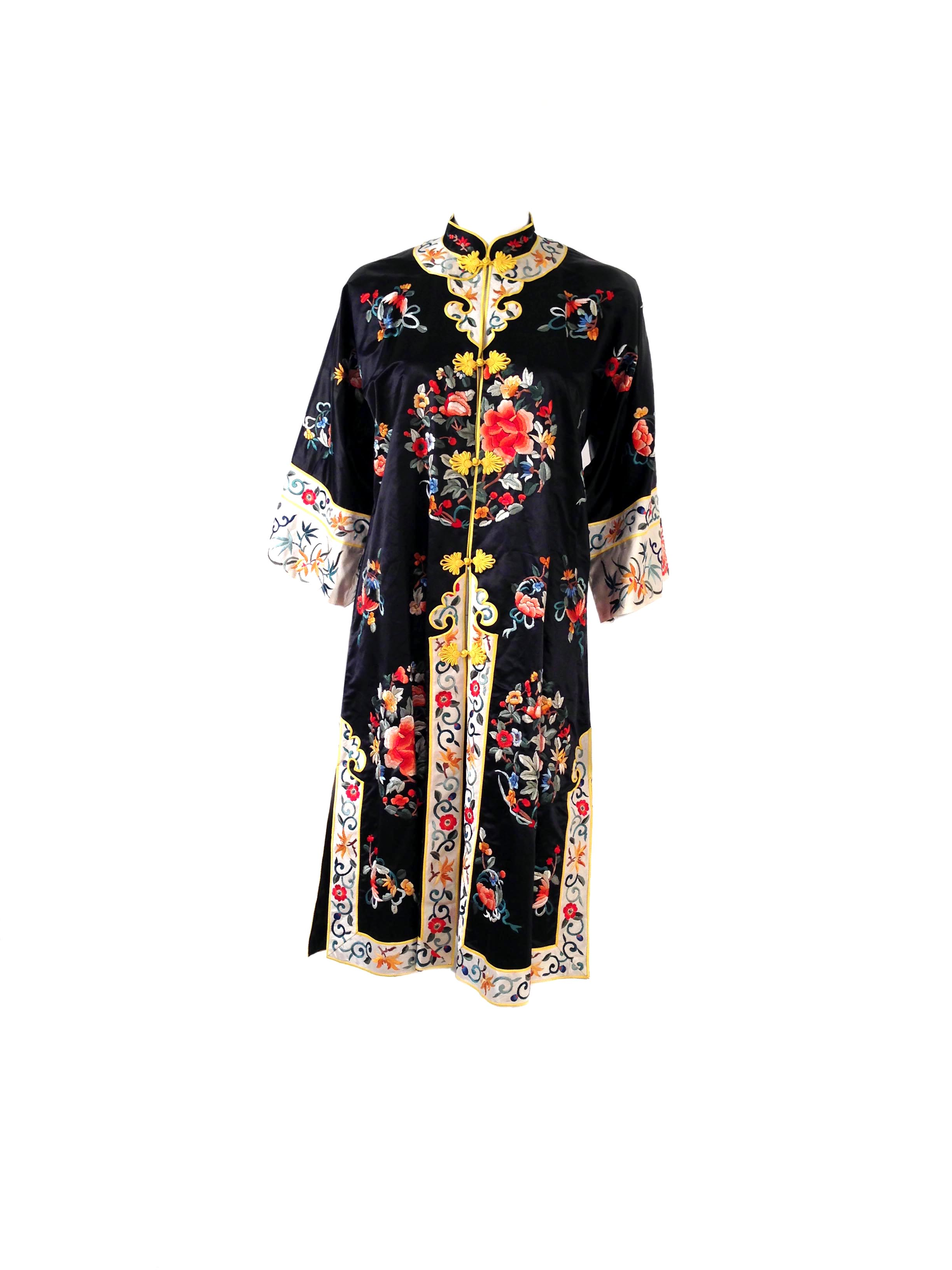 """Vintage chinese black silk floral embroidered """"baihua"""