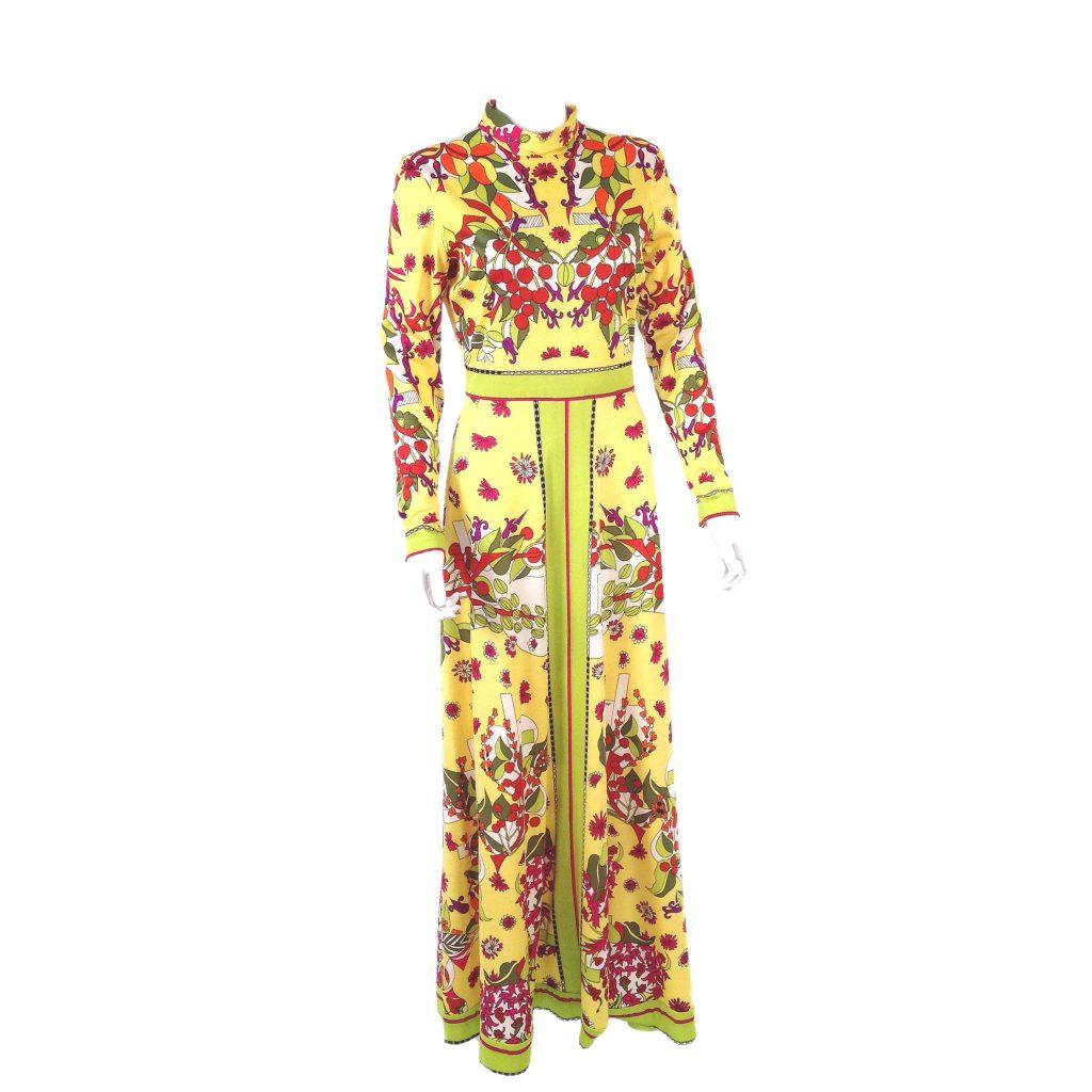 "Vintage Dressing Gown: Vintage 70s ""Aremis"" Designer Fruit & Flowers Op Art Maxi"
