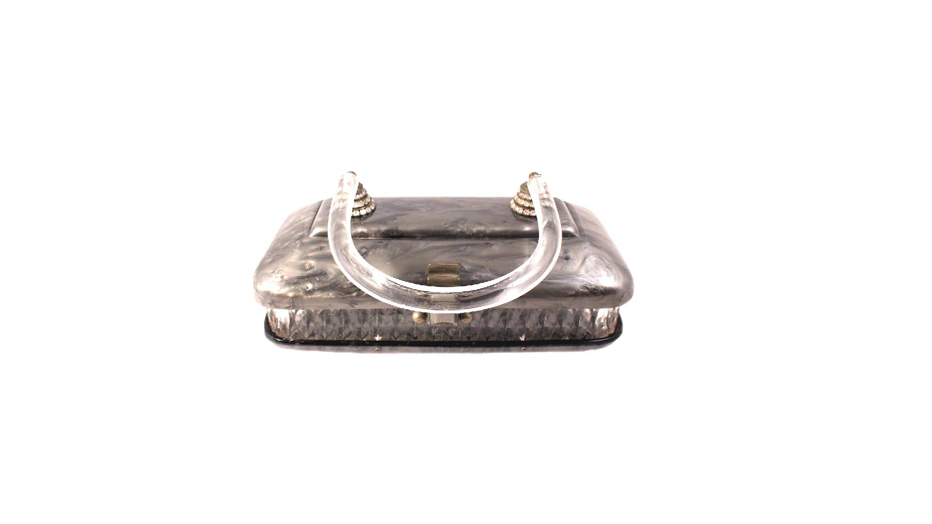 vintage  u201cllewellyn u201d lucite purse carved gray marbled plastic bag