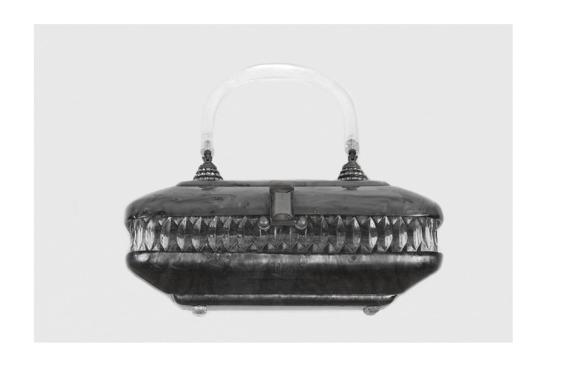 vintage-Llewellyn-gray-Lucite-rhinestone-purse_03. Llewellyn lucite vintage  handbag purse