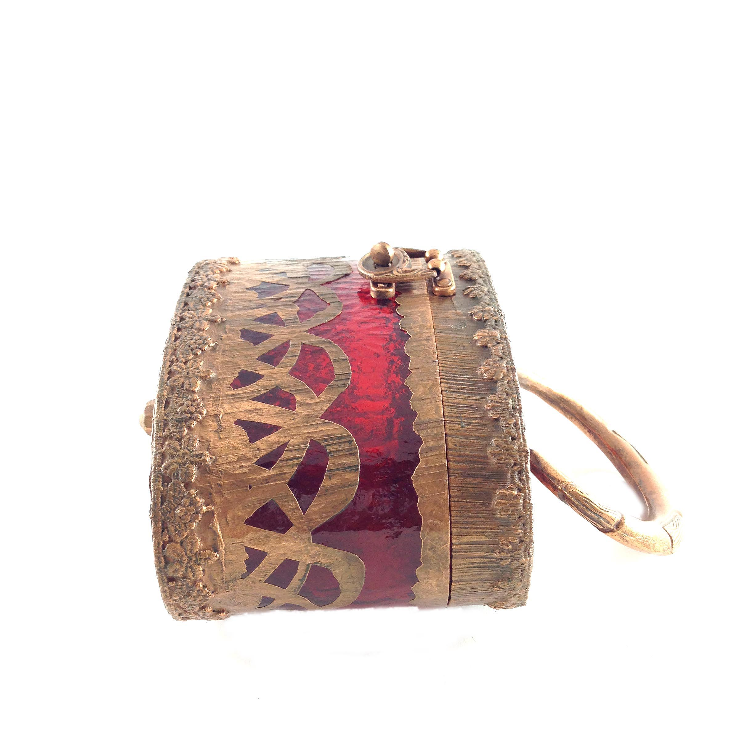 Vintage Rare Walborg Copper Red Lucite Box Purse Bag