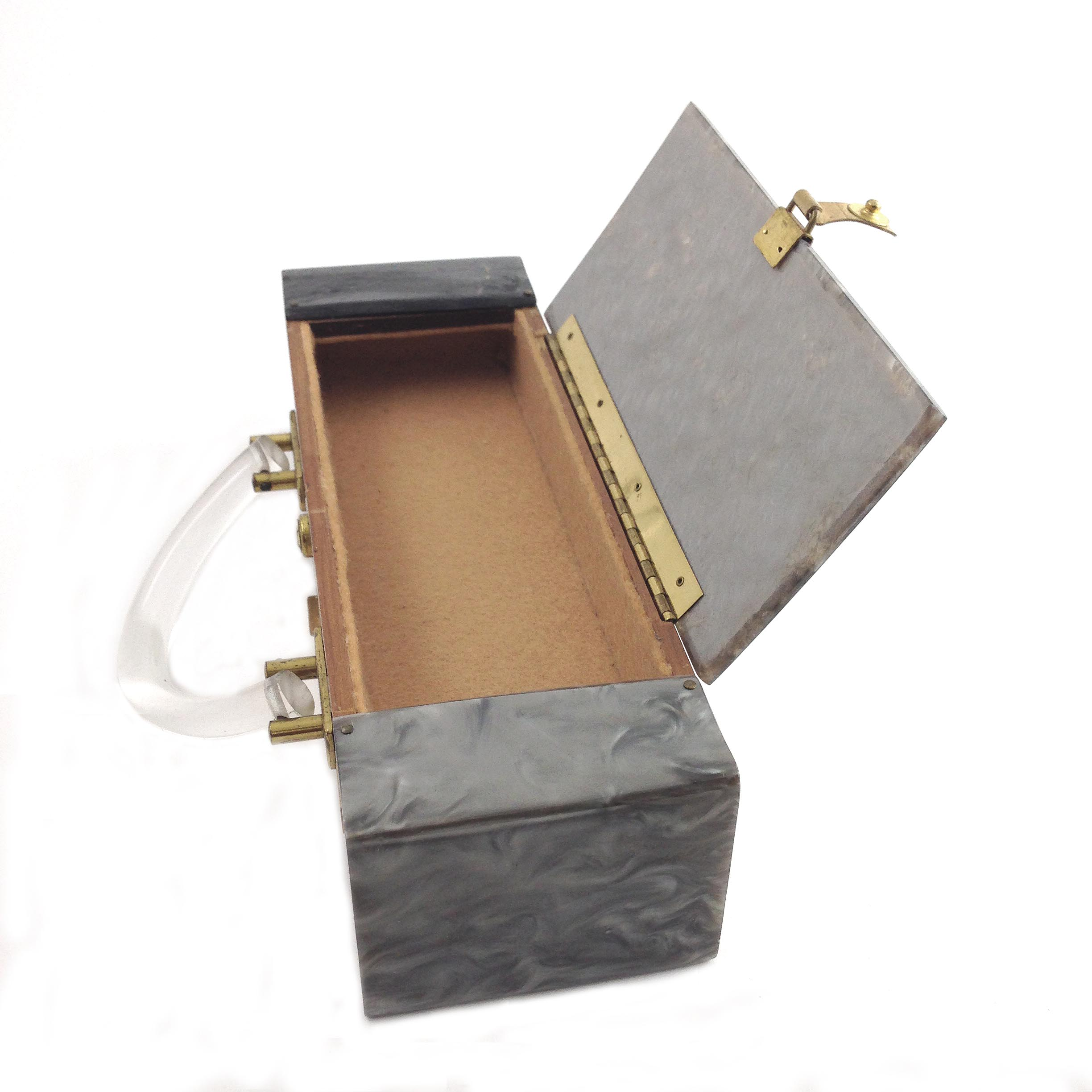 Vintage Lucite Marble Gray Purse Double Compartment Wood