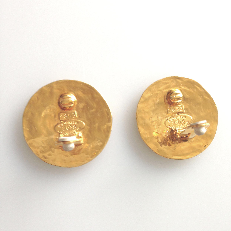 Chanel Vintage Cc Logo Gold Tone Earrings