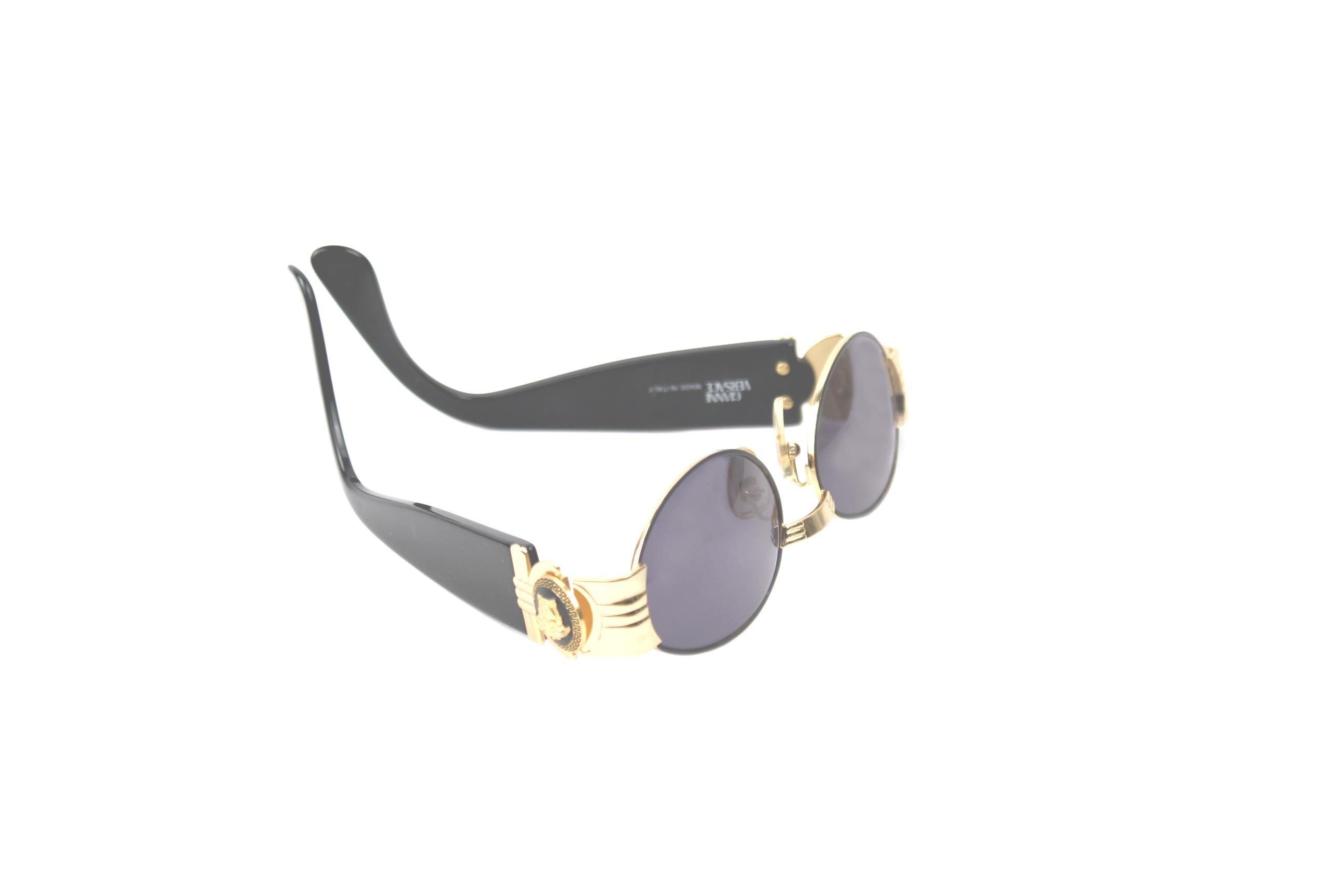 Vintage Gianni Versace Gold Medusa Black Sunglasses Mod S72 Col 16L ...