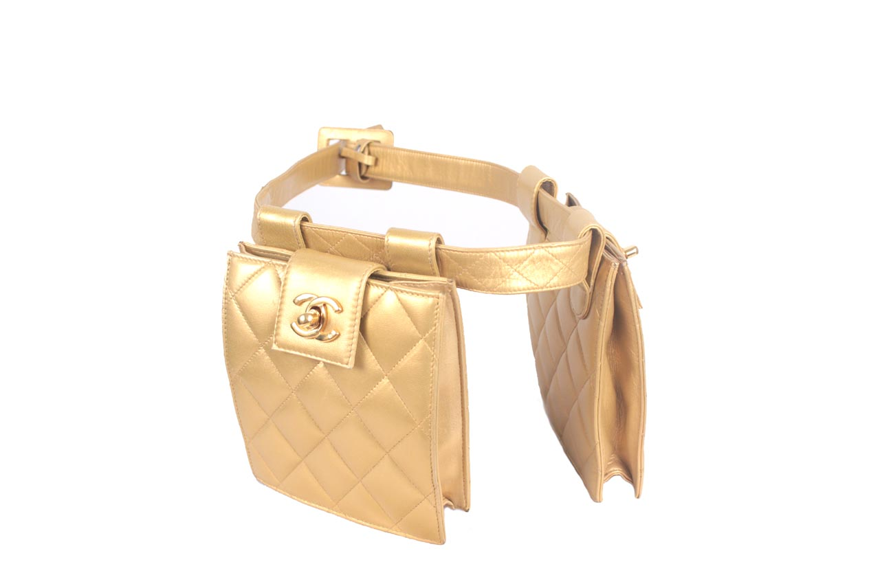 7ca36f7b4830 Vintage Chanel Gold Leather Fanny Pack Quilted Belt Waist Double Bum ...